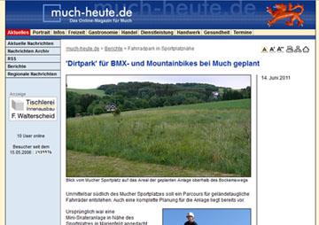 much-heute.de - bericht über die Dirtanlage Much